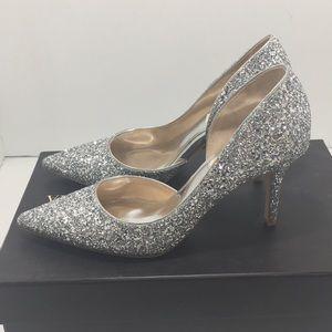 Badgley Mischka Silver Glitter Bridal Heels Pumps